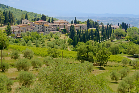Photo shows a general view onto the Tuscany landscape.