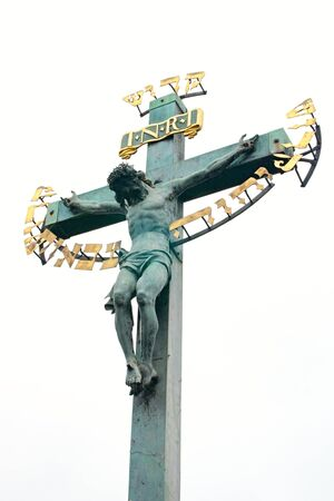 inri: Photo shows a closeup of the old cross with Jesus. Stock Photo