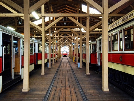 depot: Old colourful tramways in the depot, Prague, Czech republic Stock Photo