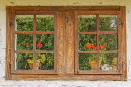 Dieses Foto zeigt eine Nahaufnahme der alten Holzfenster mit Blumen.