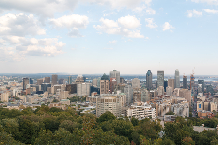 montreal city: Photo shows landscape view of Montreal city during autumn sunny day. Stock Photo