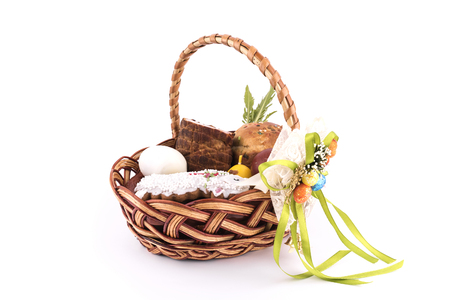 Small childrens Easter basket meal for sanctify, Christian tradition, Ukraine