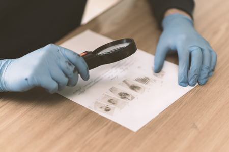 The research process fingerprints obtained at the scene of crime. Ukraine