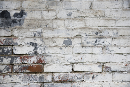 wall textures: Fragment of whitewashed old brick wall, natural background