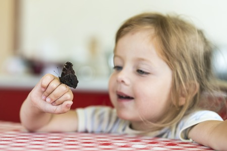 Little girl holds on the hand the Aglais io butterfly and watches for him, emotion surprise