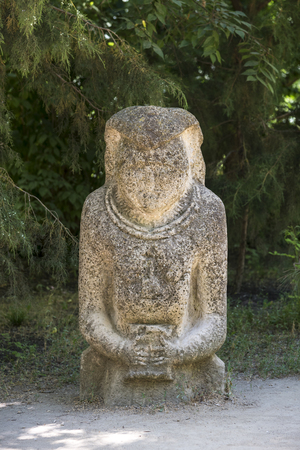 Ancient kurgan stelae in the zoological garden of the National Reserve Askania-Nova in Ukraine, stone babas