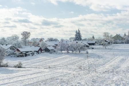 Beautiful winter landscape in the village of Western Ukraine, nature Stock Photo