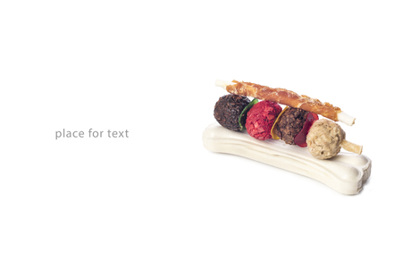 Nutritious pet food on a white background with shadow, place for text, product label, design