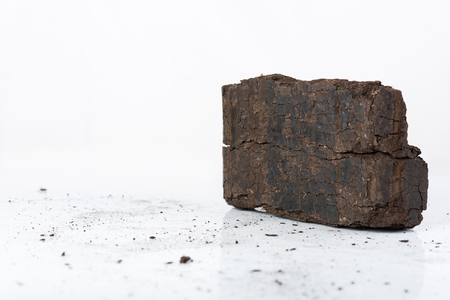 Peat briquette on white background, alternative fuels, raw material, place for text