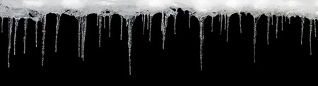 Icicles on a black background, place for text, template for design, set