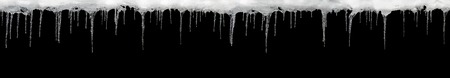 Icicles on a black background, wide, place for text, template for design, set Stock Photo