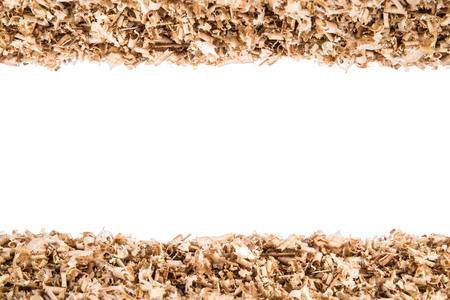 Design background from wood shavings, empty center with for copyspace