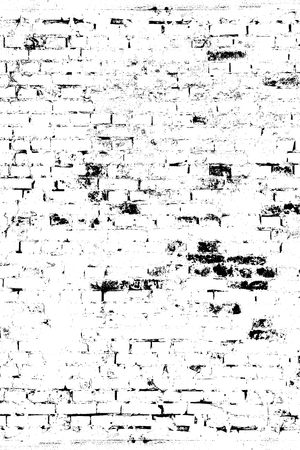 Brick wall in grunge style, dirty and rubbed, pattern for overlay on surfaces, black and white tones
