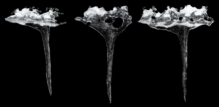 Icicles isolated on a black background, with clipping path