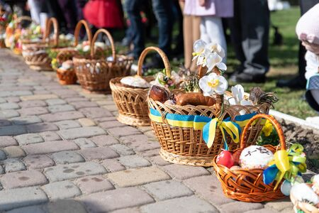 Voroblevychi village, Drohobych district, Western Ukraine - April 07, 2018: Easter baskets with food are ready for consecration. Christian traditions, celebration of Easter in Ukraine