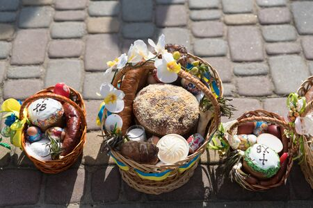 Voroblevychi village, Drohobych district, Western Ukraine - April 07, 2018: Easter baskets with food are ready for consecration. Christian traditions of celebration of Easter in Ukraine Editorial