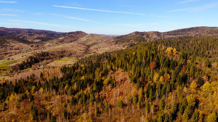 Carpathian Mountains and forests. Village between the mountains Stock Photo