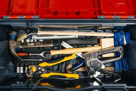 Set of working tools in tool box, top view. Do It Yourself.