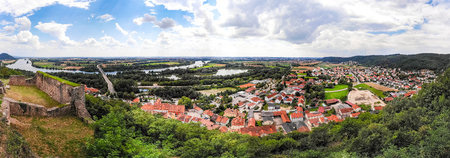 Panoramic landscape of Donaustauf town, Bavaria, Germany. Danube river and beautiful nature, summer time