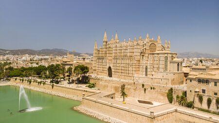 Aerial view of Cathedral of Santa Maria of Palma city