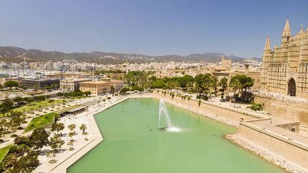 Aerial view of Palma city. Cityscape, architecture, Cathedral of Santa Maria
