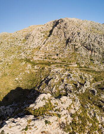 Panoramic landscape. Hairpin turn road MA-2141 between rocky mountains. Way to Sa Calobra beach, Mallorca, Balearic Islands
