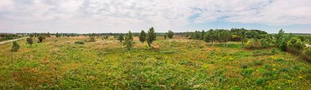 Wide panoramic landscape of nature. Rural area, Ukraine