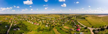 Panoramic landscape of countryside. Aerial view of traditional village, Ukraine