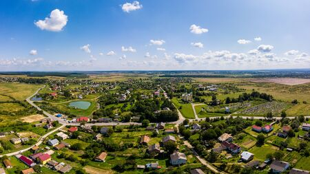 Aerial drone view of traditional Ukrainian village. Countryside it the west of Ukraine. Stock fotó