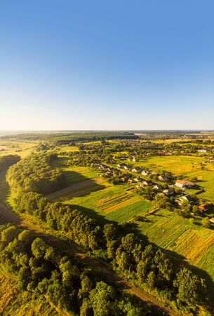 Aerial view of traditional village, Ukraine. Landscape of rural area, nature