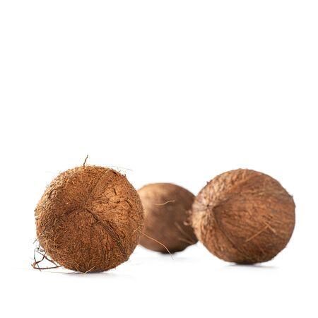 Three shaggy coconuts on white background, square Stockfoto