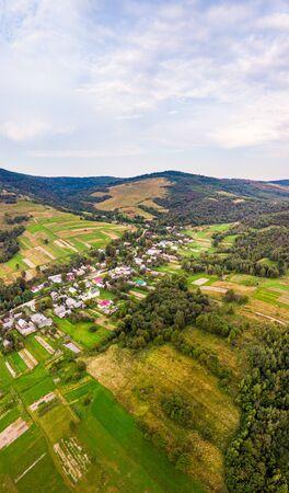 Vertical landscape of countryside in Carpathians, Ukraine. Stockfoto