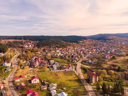 Aerial drone view of Skhidnytsia popular healing spa resort in Carpathians, Ukraine. Balneological resort with mineral springs.