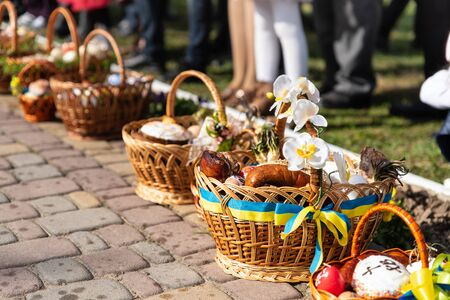 Voroblevychi village, Drohobych district, Ukraine - April 07, 2018: Easter baskets with food are ready for consecration. Christian traditions, celebration of Easter in Ukraine Editorial