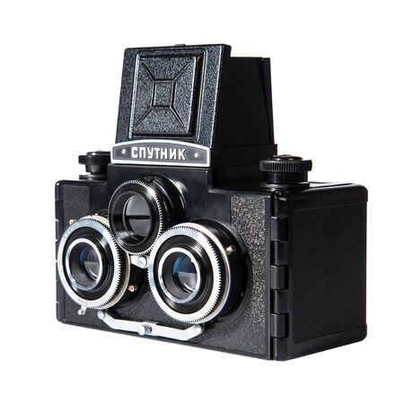 Drohobych, Ukraine - December 26, 2019: Sputnik, in Cyrillic character, Soviet stereoscopic camera, retro medium-format triple-lens mirror camera, angle view. Isolated on white, clipping path.