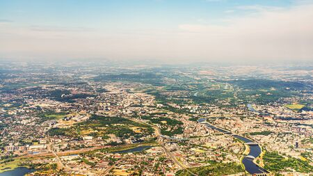 Aerial cityscape of beautiful Crakow. Royal Capital City of Krakow, Poland, Europe. Popular tourists city