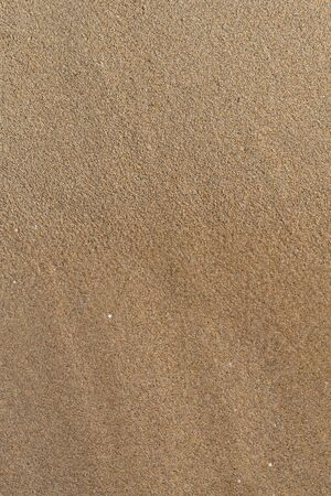 Soft seawater covers the sand on the shore of sandy beach, top view, close up. Empty summer vertical background with copy space Imagens