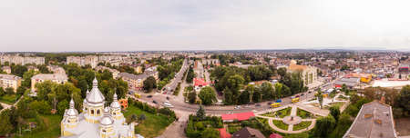 Drohobych, Ukraine - September 07, 2019: Aerial drone view 180 degrees landscape of Drohobych town. Cityscape of older European town.
