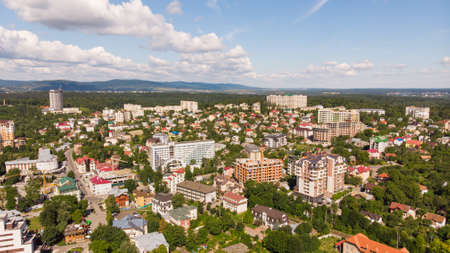 Truskavets, Ukraine - July 29, 2019: Aerial view of Truskavets town, Ukraine. Popular healing spa resort with mineral springs. Known as Kurortopolis Truskavets. Editoriali