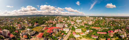 Truskavets, Ukraine - July 29, 2019: Birds eye view of Truskavets city, Ukraine. Popular healing spa resort with mineral springs. Aerial drone view 180 degrees panoramic landscape