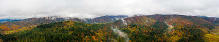Scenic panoramic autumn landscape. Beautiful mountains and forests of nature in Ukrainian Carpathians