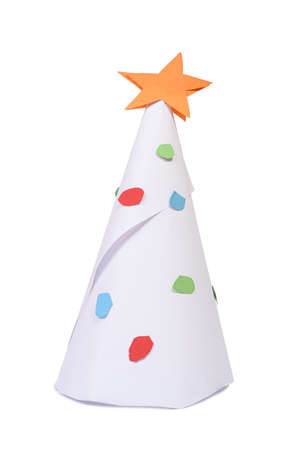 Handicraft paper toy. Christmas tree with decorations, object isolated on white. Child home leisure and self-development theme. 版權商用圖片