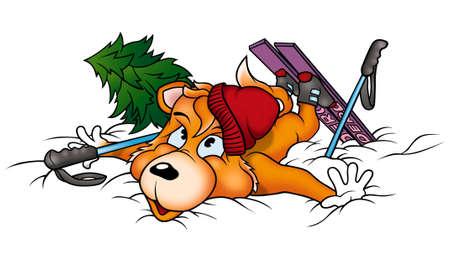 Dog-fox skier photo