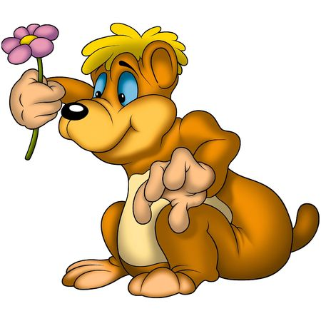 felicitate: Teddy Bear 10 with flower Stock Photo
