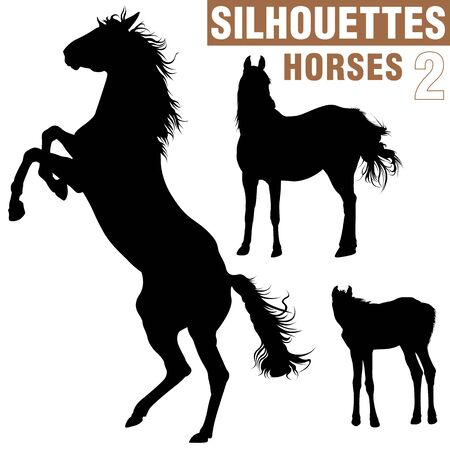 merrie: Paarden Silhouettes 2 Stockfoto