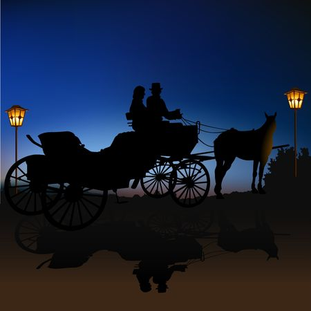 romanticist: Carriage Silhouette B Stock Photo