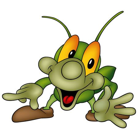lively: Happy green bug