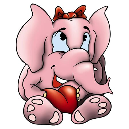 amorous: Elephant and heart - Amorous elephant