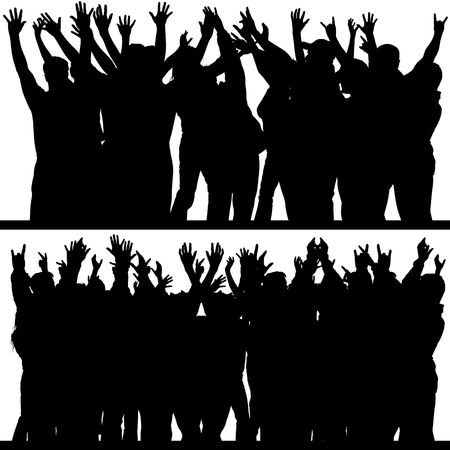 chant: Hands Up Silhouettes 4 Stock Photo