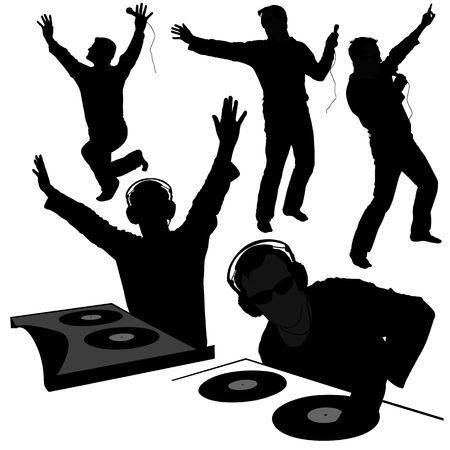 revelry: DJs 02 - Deejay silhouettes Stock Photo